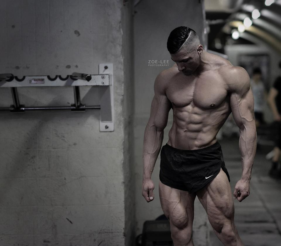 bodybuilder in locker room